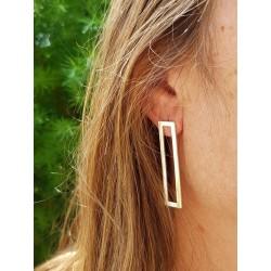 Magnifique boucles d'oreilles argent 925 rectangle ajouré portées