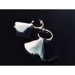 Boucles d'oreilles argent pompons bleu et blanc