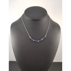 Collier argent plage perles rocailles bleues