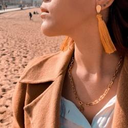 Boucles d'oreille Lily pompons jaune