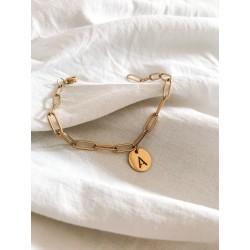 Bracelet Malo fond blanc acier inox doré