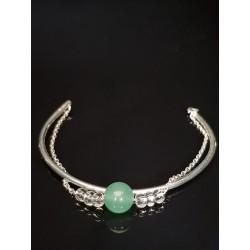 Bracelet argent jonc Ella aventurine vert