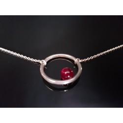 Bracelet en argent perle agate rose teinté hoop