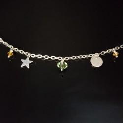 Bracelet pampilles Swarovski jaune et vert